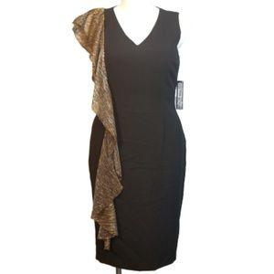 NWT! Tahari ASL Gold Metallic Ruffle Dress